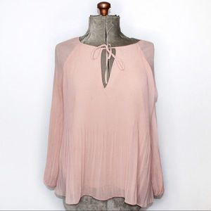 Sanctuary Blush Pink Sheer Pleated Flowy Blouse